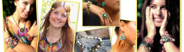 Hippy sieraden, armbanden, kettingen, oorbellen en ringen.