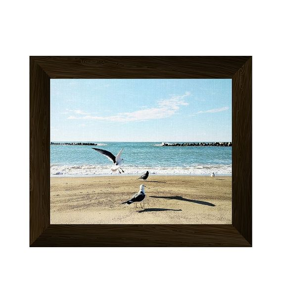 beach photography, coastal wall art, sea print, seagull poster, ocean printable artwork, beach wall art prints, instant digital download