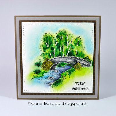 Trauerkarte Herzliche Anteilnahme. Stempel Bridge over Water von C.C. Designs, Textstempel mit Stampmaker selbst gemacht.