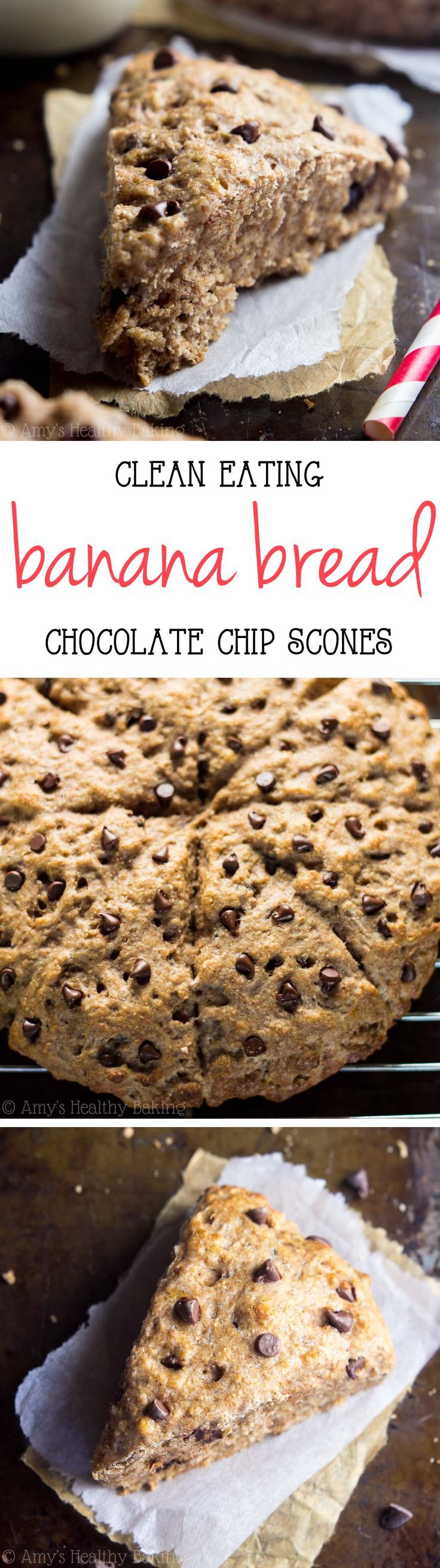 Clean-Eating Chocolate Chip Banana Bread Scones