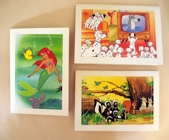 Set of 3 Disney Character Greeting Cards by MagpieSailor, $9.50