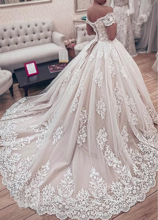 Tulle Off-the-shoulder Neckline Ball Robe Marriage ceremony Attire With Lace Appliques