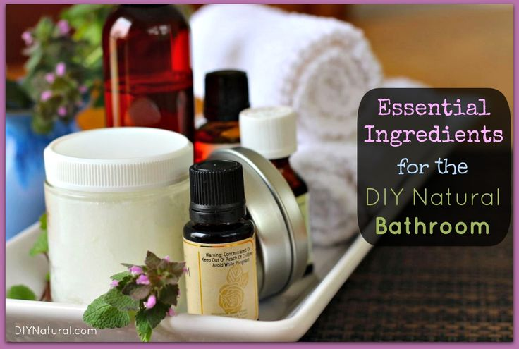 DIY Natural Bathroom.  Great list of supplies and things to keep on hand.