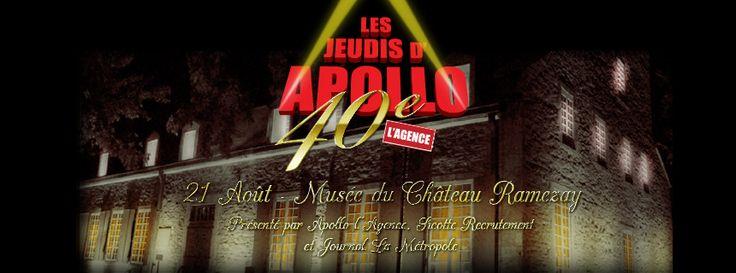 La 40ème Édition des Jeudis d'APOLLO approche à grands pas. Venez célébrer cet anniversaire avec nous le 21 août au Musée du Château Ramezay. De nombreuses surprises vous attendent.