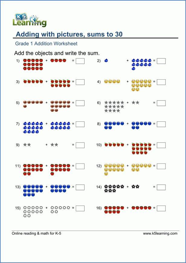 Printable Math Worksheets For Grade 1 1st Grade Math Worksheets