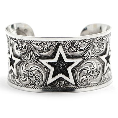 Women's Silver King Curved Star Sterling Silver Cuff at Maverick Western Wear