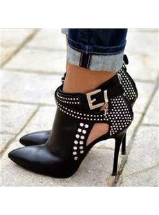 Attractive Black Rivets Decorated Ankle Boots - Shoespie.com