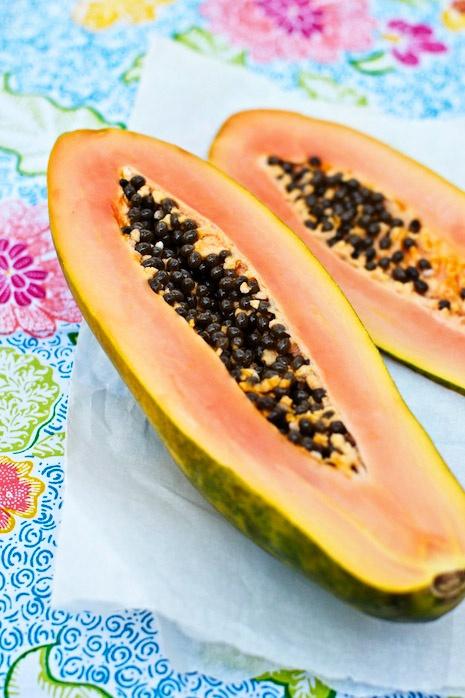 Papaya FamilyFreshCooking.com ©Marla Meridith  http://www.familyfreshcooking.com/2012/04/08/papaya-strawberry-avocado-shake-recipe/