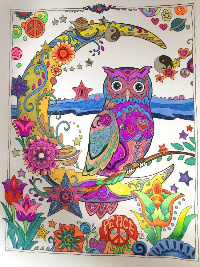 Coloured By Myra Joyce From Creative Haven Owls Vintage Greeting CardsAdult ColoringColoring BooksColouring TechniquesColor