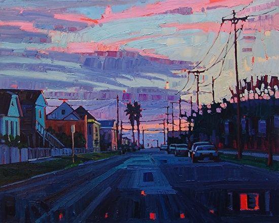 """Sunrise on Avenue O,"" by Rene' Wiley by Rene' Wiley Gallery Oil ~ 24 x 30"