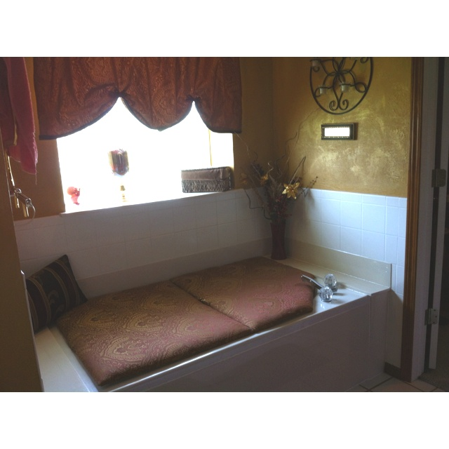 Tub Cover Made Frm Plywood Cushion And Fabric Ez Hinge