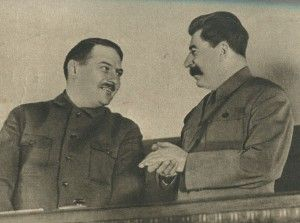 Stalin and Zhdanov at the meeting of the leaders of the yield of grains (December 1935).