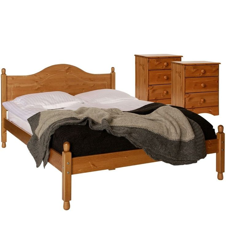 """Scandi / Aviemore Pine Double Bedroom Set - 2 x Bedside Table, 4ft 6"""" Double Bed Frame"""