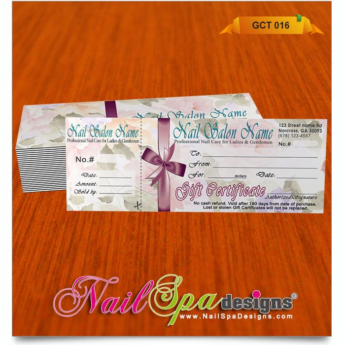 48 best Nail Spa Gift Certificates 001-025 images on Pinterest - copy hotel gift certificate template