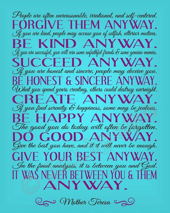 Mother Teresa Do It Anyway Quote Instant Download Printable