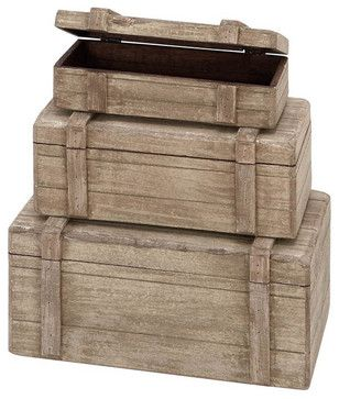 Nautical Maritime Decor Wood Boxes, Set of 3 - beach-style - Decorative Boxes - Modern Furniture Warehouse