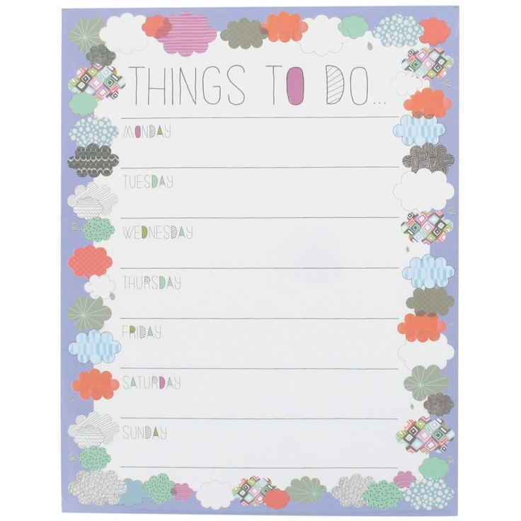 clouds things to do pad from Paperchase