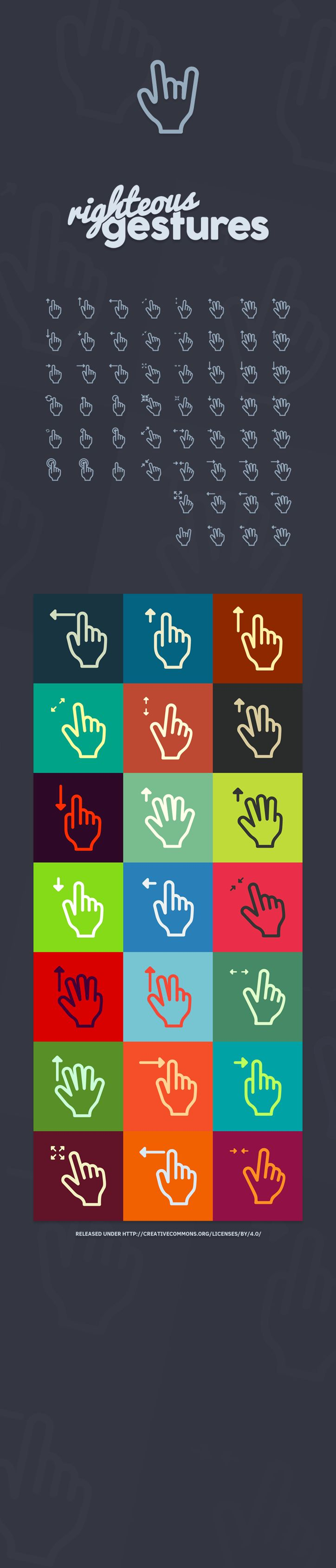 50+ Gesture Icons (PSD+Vector)
