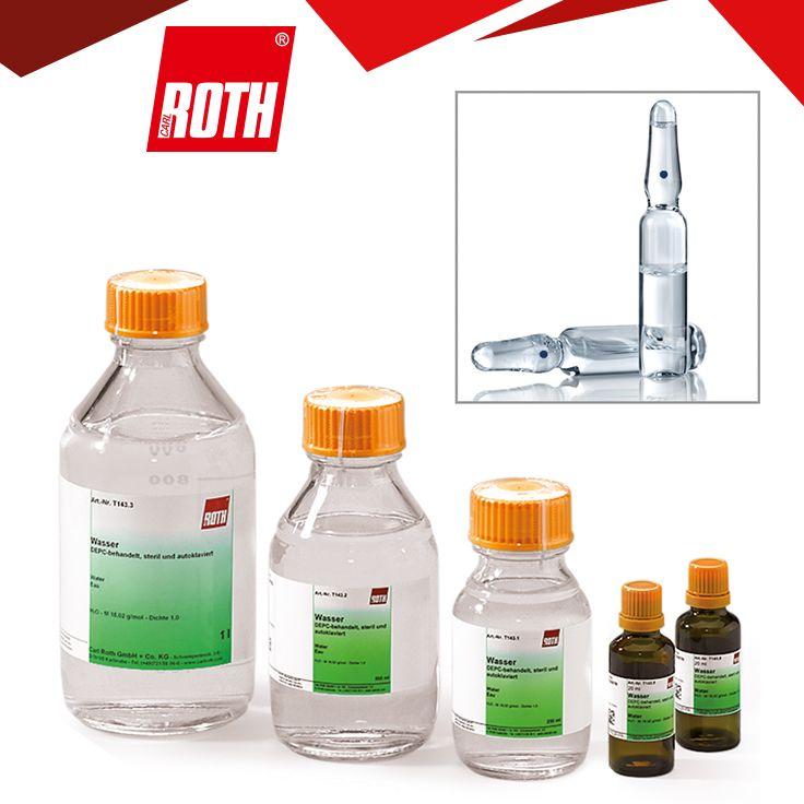 Wasser BioScience-Grade, Nuklease-frei, autoklaviert, DEPC-behandeltes Wasser  Für die Molekularbiologie. Summenformel H2O Molare Masse (M) 18,02 g/mol Dichte (D) 1,0  Siedepunkt (Kp) 100 °C Schmelzpunkt (F) 0 °C CAS-Nr. [7732-18-5] EG-Nr. 231-791-2