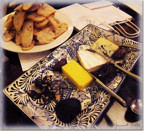 The cheese course - triple cream brie, blue and mature cheddar.