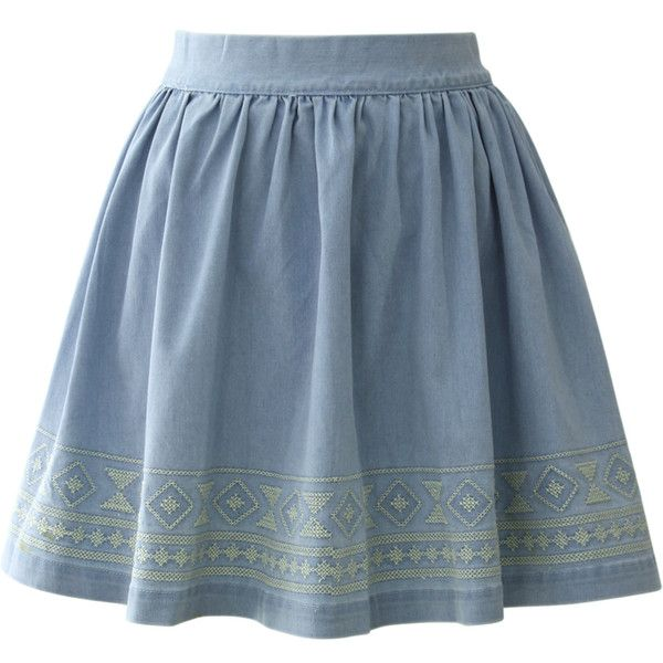 Chicwish Aztec Stitch Denim Skater Skirt in Light Blue ($20) ❤ liked on Polyvore featuring skirts, bottoms, blue, flared skirt, denim circle skirt, denim skirt, aztec print skirt and blue skirt
