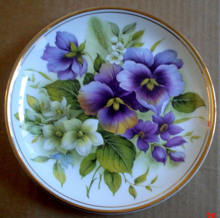Edwardian Fine China Pansies Flowers Collectors Plate