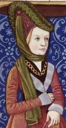 """Forked hennin. The veil is pinned on the side with a brooch and is wrapped around like a scarf to creates a wimple. Image  from Boccace's """"de mulieribus claris"""" around 1490 (Clytemnestre)."""