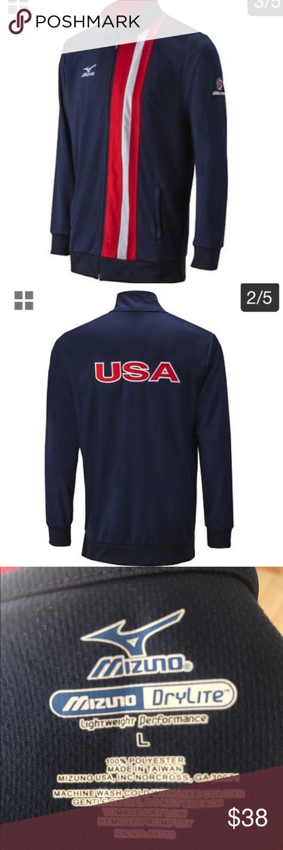 """Mizuno USA VOLLEYBALL lt wt performance jacket L This Mizuno USA VOLLEYBALL lightweight performance jacket In men's size L (fits women's XL) has never been worn NWOT. It has a small USAV logo on arm and full """"USA"""" national team insignia on back. Mizuno Jackets & Coats"""