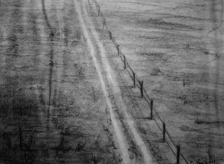 Droga przez pole, 50x70cm, paper, carbon