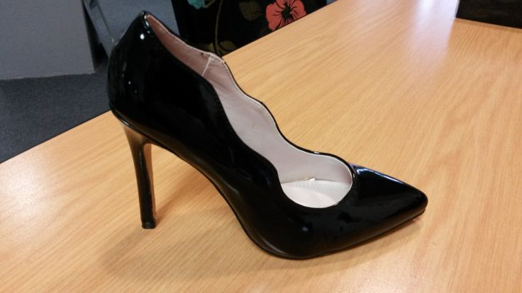 Black Patent Leather High Heeled Court by Sissy Boy