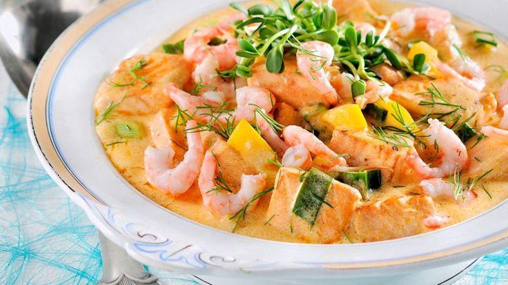grønn curry oppskrift: Grønn curry med reker og laks - KK.no