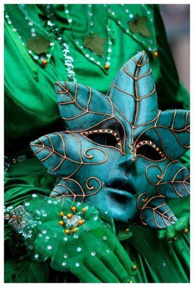 <3: Green Envy, Venetian Masks, Masks Masquerades, Green Leaves, Fairyt Fantasy, Green Man, Mardi Gras, Costumes Ideas, Carnivals Masks