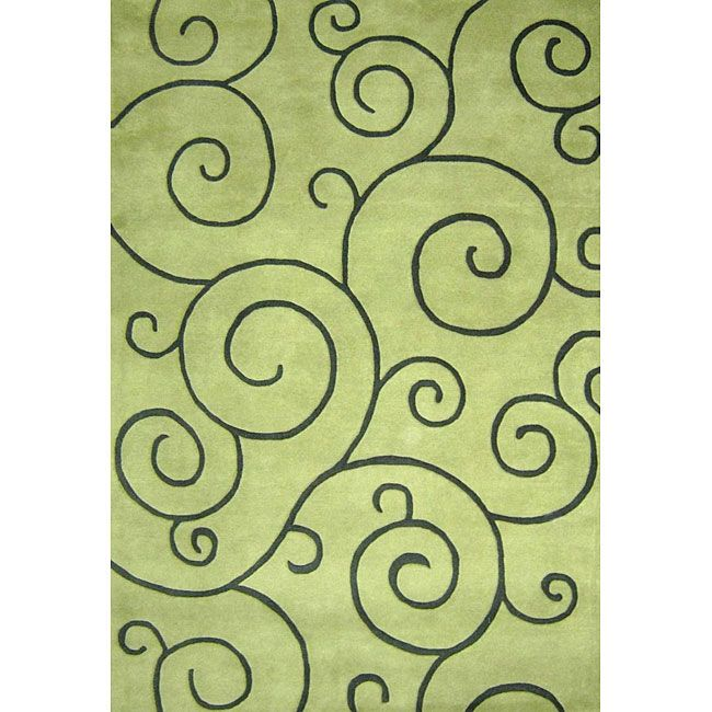Lime Green Grey Area Rug: Alliyah Handmade Lime Green New Zealand Blend Wool Rug