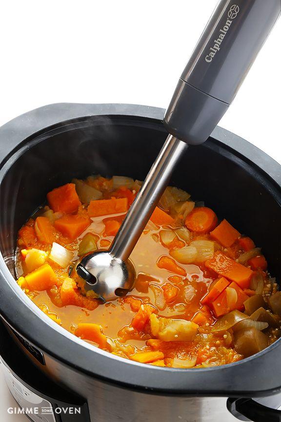 Slow Cooker Butternut Squash Soup   gimmesomeoven.com