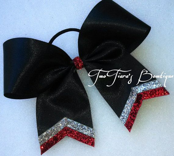 Black Cheer Bow with silver and red trim Team Discounts All Star NCA Softball any colors on Etsy, $7.50