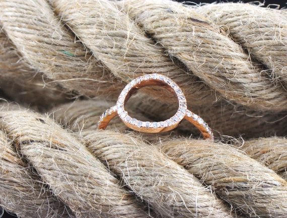 Diamond and 14kt Gold Trendy Open Circle by IsabelCoquetteBijoux