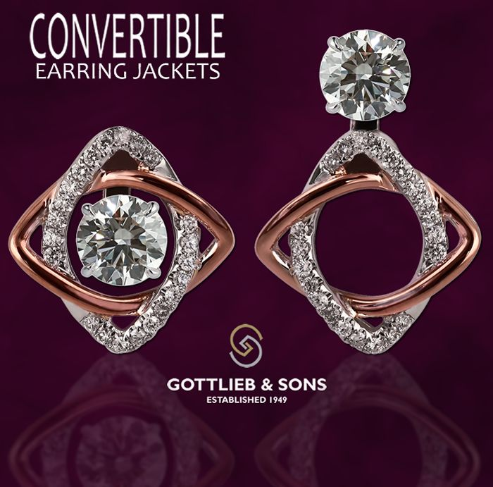 Two tone pink gold ‪#‎Diamond‬ Convertible Earring Jackets allow you to wear your diamond studs three unique ways. Visit your local ‪#‎GottliebandSons‬ retailer and ask for style number 28983B. http://www.gottlieb-sons.com/product/detail/28983B