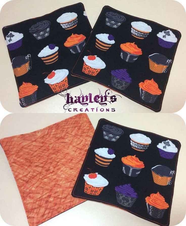 Handmade by Hayley at Hayley's Creations Spooky Pot Holder Set (set of 2) For more information, please visit https://www.facebook.com/HandmadeMarkets