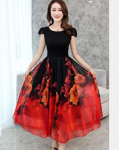 Summer Elegant Women Chiffon Print Bohemian Beach Dress Maxi Dress O neck Casual  Loose Plus size Dress Female  dresses  dress  tees  party  … dbc35adb0448
