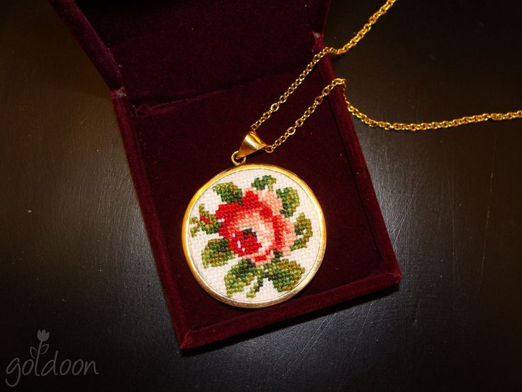 cross stitch necklace,goldoon,cross stitch jewelry,hand stitched, handmade , handicraft ,embroidery