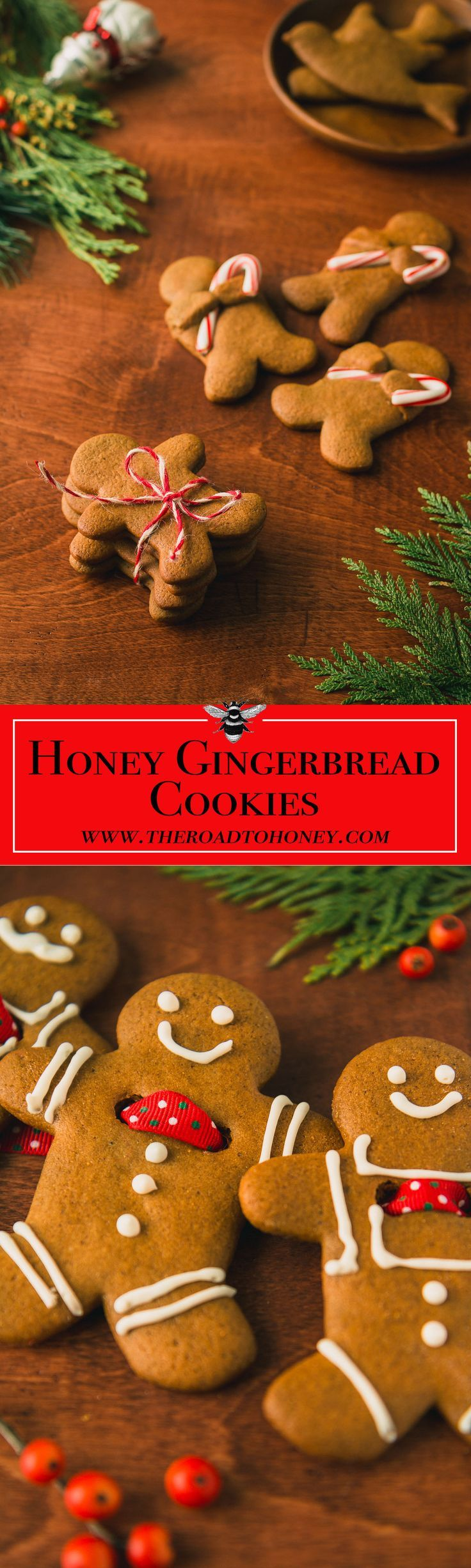 Honey Gingerbread Cookies with Lemon Icing - Nothing says Christmas more than the warm, spicy notes of Honey Gingerbread Cookies with Lemon Icing. This recipe contains honey making it extra special.