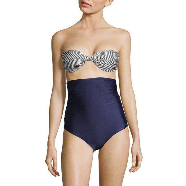 Sinesia Karol Two-Piece Road Bikini ($232) ❤ liked on Polyvore featuring swimwear, bikinis, high waisted bikini, bikini swimwear, black and white bikinis, high-waisted bikinis and two piece swimwear