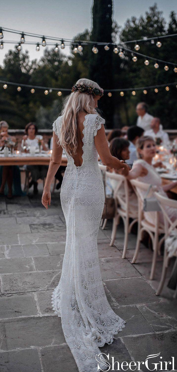 Backless Lace Boho Mermaid Wedding Dresses Cap Sleeve Bohemian Bridal Gown AWD1410