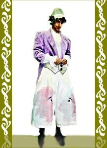 kostým fialový klaun, půjčovna Ladana