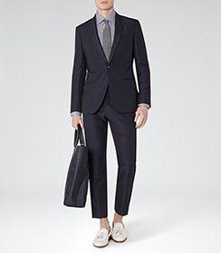 Mens Grey Micro Check Shirt - Reiss Sydenham