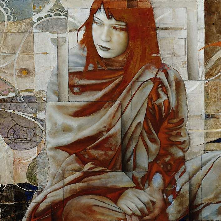 """Sergio Cerchi. """"sitting Red haired Girl"""". Oil"""