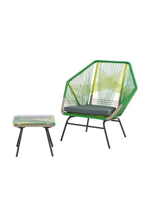 The Copa Outdoor Aperitif Set, in Citrus Green. A geometric design by MADE Studio. £399. MADE.COM