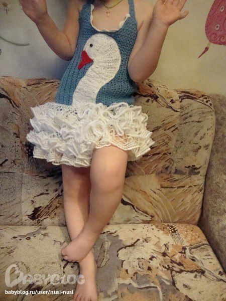 swan dress: cute! You could do something like this with the Seashore Sundress and some appliqué with lace ruffles.