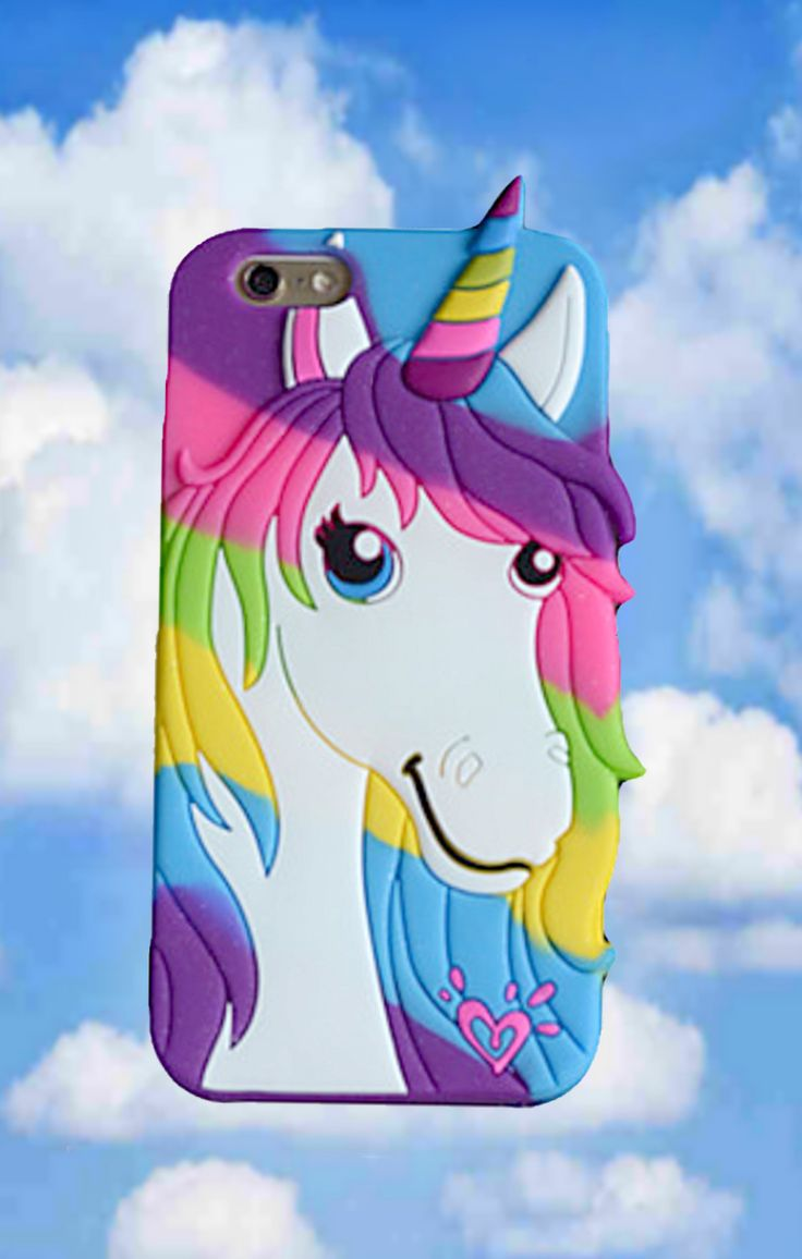 Silicone Phone Case for iPhone 7 6 or 5 - Girly & pretty iPhone Case - Happy rainbow unicorn in hot pink, blue, purple, green & yellow.. Cute gift for rainbow unicorn or 80's party. Mystical creatures, raver girl, retro fashion, girls night out outfit ideas, pretty little thing, festival fashion. This is an affiliate link.