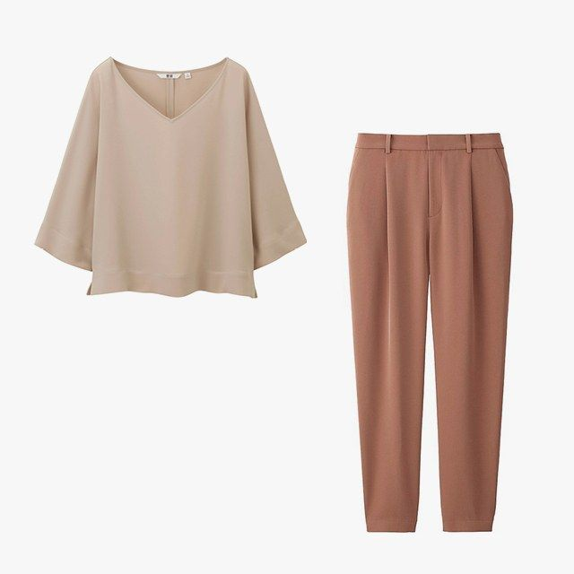 Uniqlo women's draped three-quarter-sleeved blouse, $30, uniqlo.com; Uniqlo women's draped jogger pants, $40, uniqlo.com
